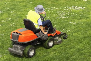 Mowing the lawn in Flowery Branch